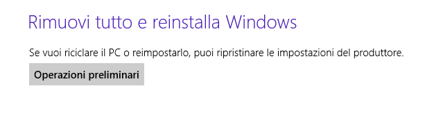Windows 8 - Reinstalla Windows eliminando i file
