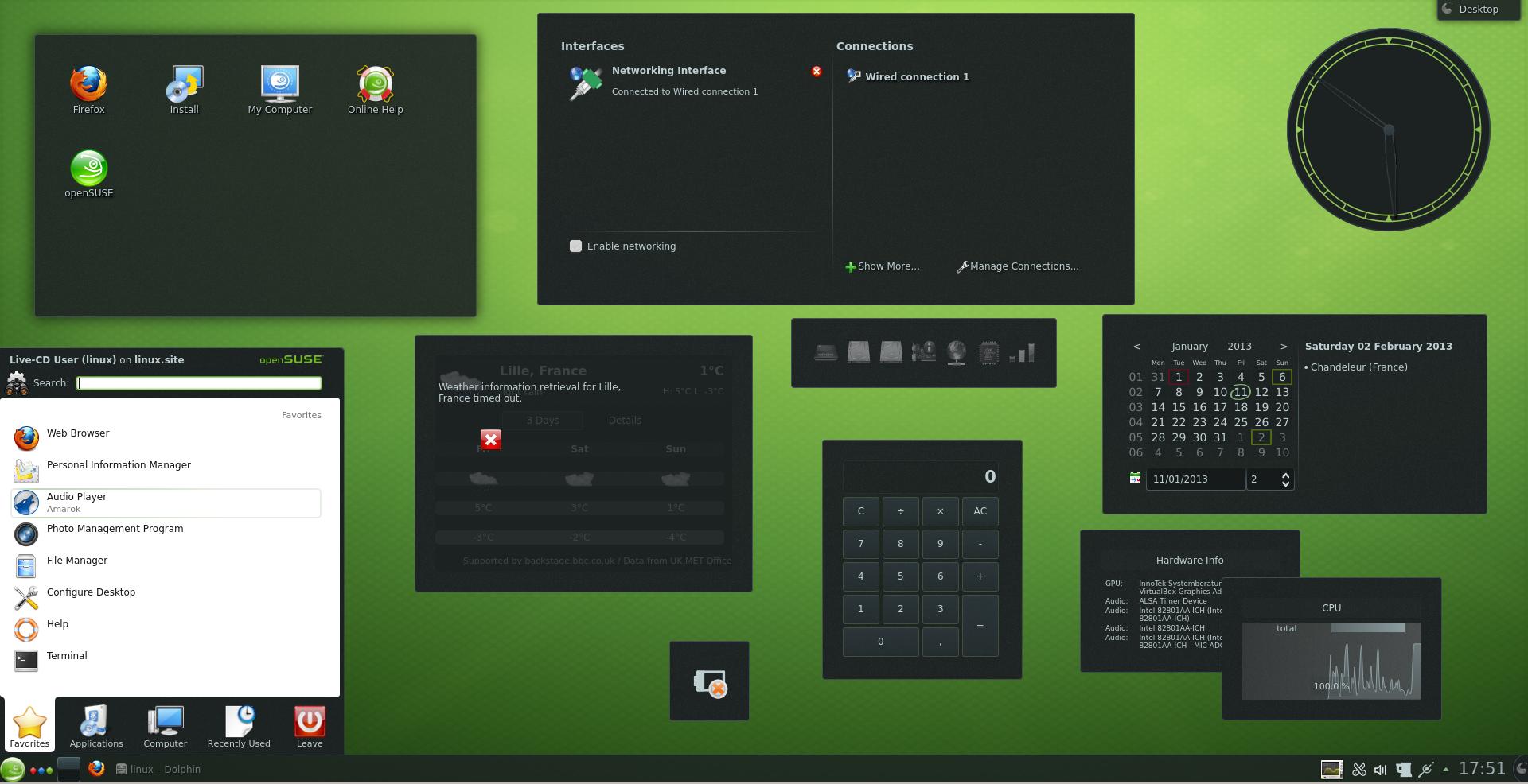 OpenSUSE 12.3 con 10.000 widget aperti