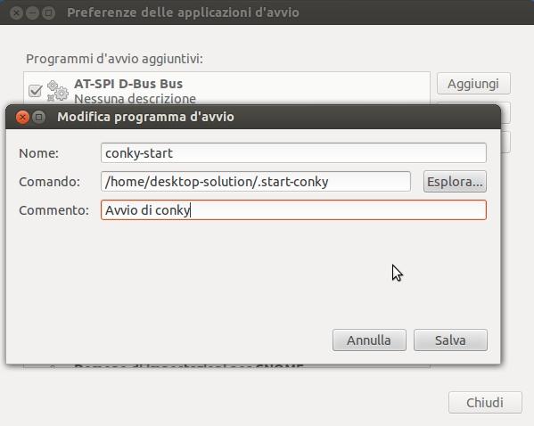 ubuntu - applicazioni d'avvio - add - conky