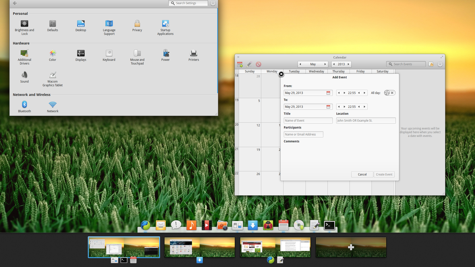 Elementary os luna beta2 - Workspace