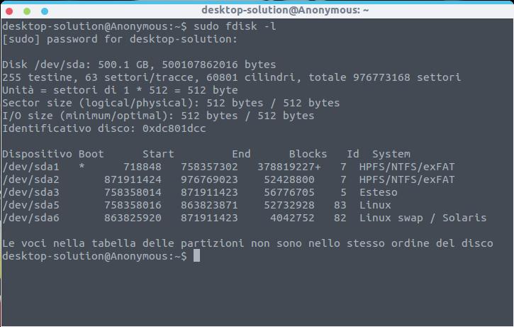 Linux - Partizione