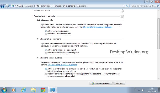 Impostazioni condivisione avanzate windows 7