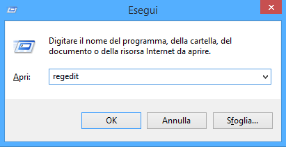 Esegui - Regedit - Windows
