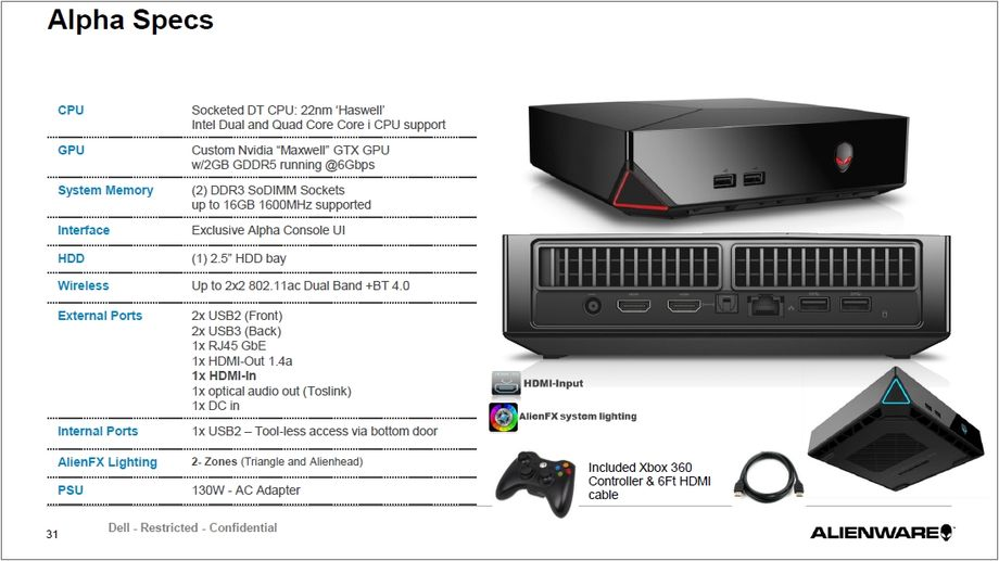 Dell Alienware Alpha Spec