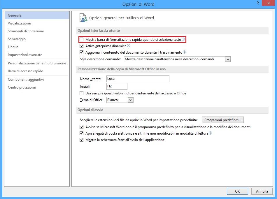 Office - Mostra barra di formattazione