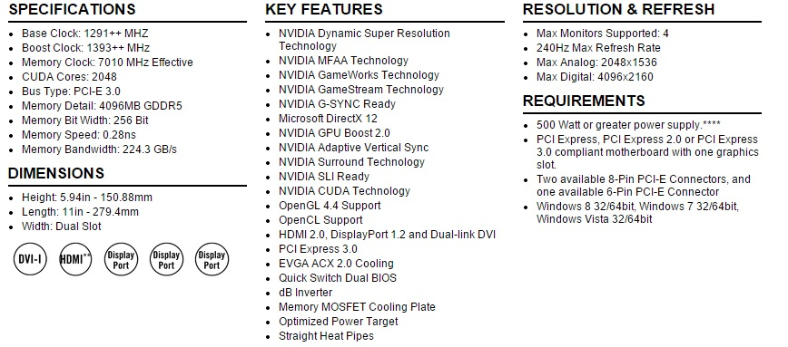 Spec - EVGA GeForce GTX 980 K NGP N ACX 2.0+