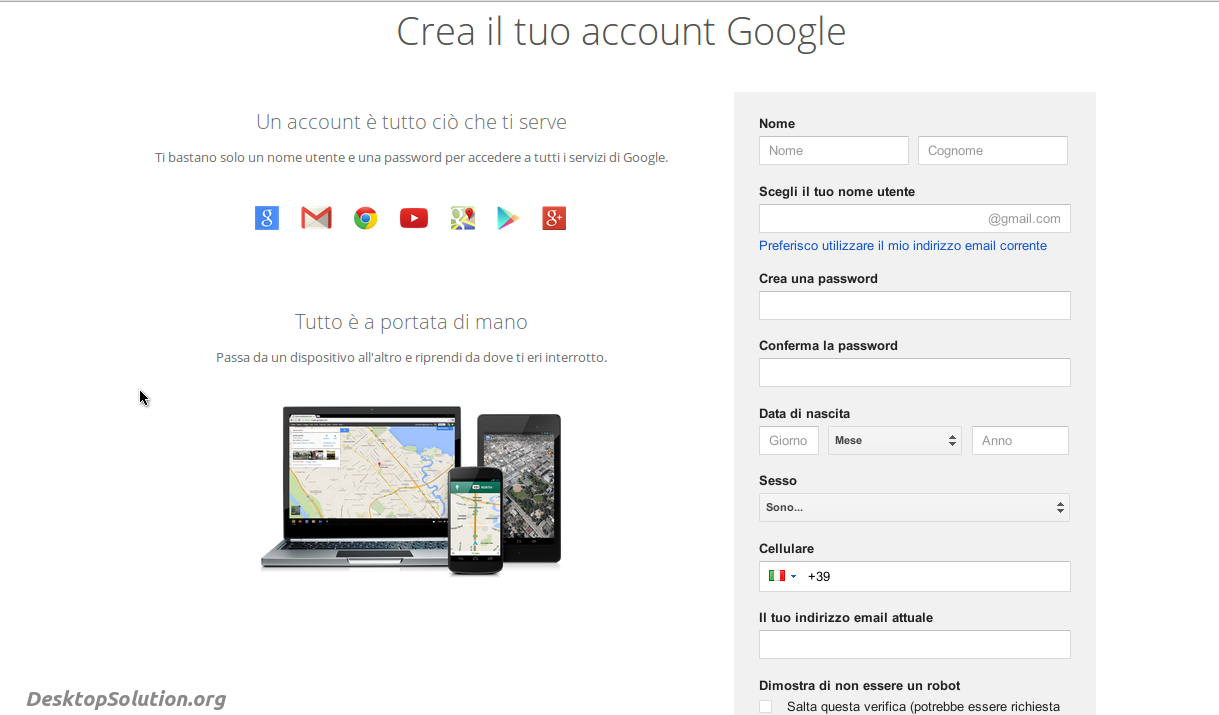 creare account google