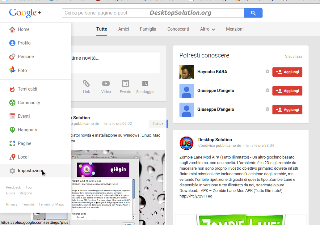 impostazioni google+