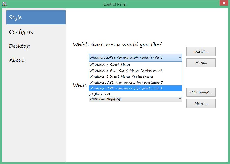 menu start - vistart - control panel