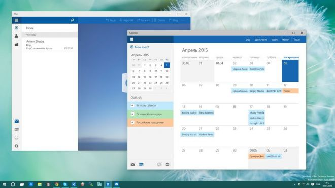 Build 10051 - Windows 10 - Mail - Calendario