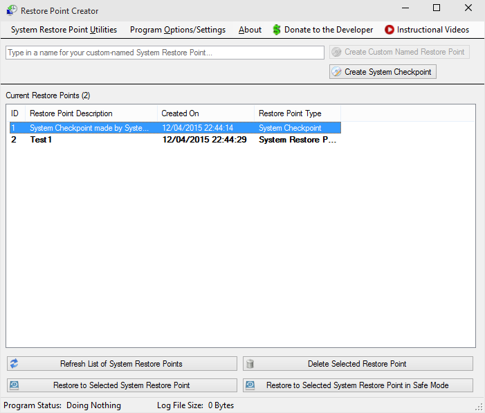 Restore Point Creator - Windows tool - photo1