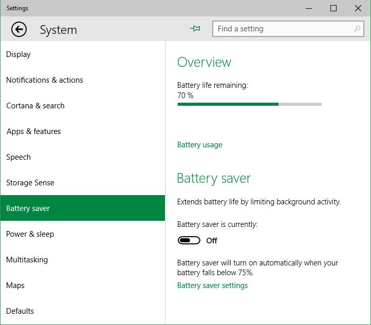 Windows 10 - Battery Saver - Impostazioni - Disattivazione