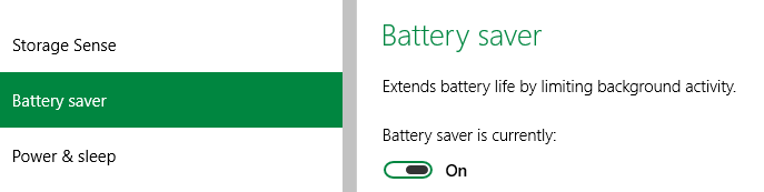 Windows 10 - Battery Saver