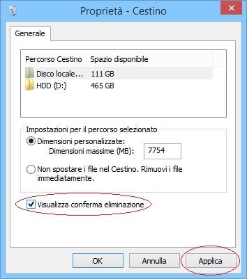 Windows 8.1 - Cestino - Proprietà - Conferma eliminazione