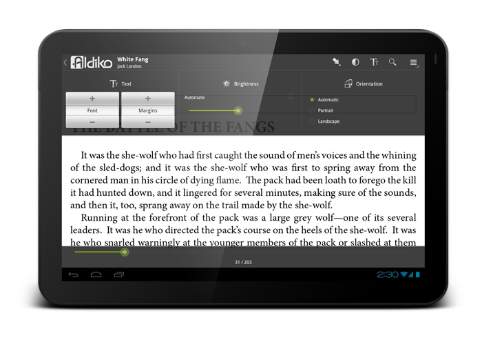 Aldiko eBook Reader - Screen