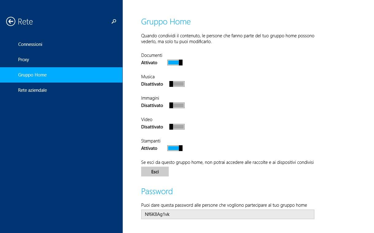 Windows 8.1 - impostazioni gruppo home