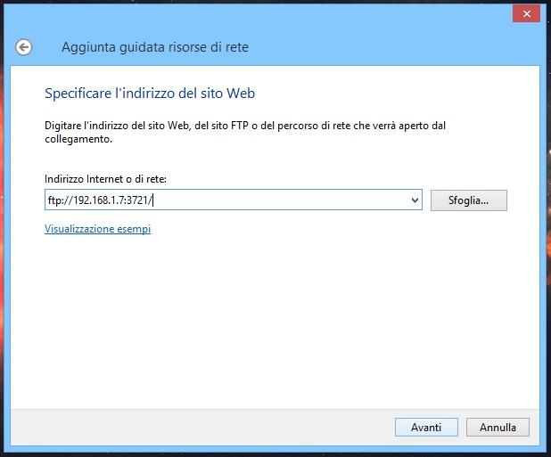 Windows - Aggiungi percorso di rete FTP