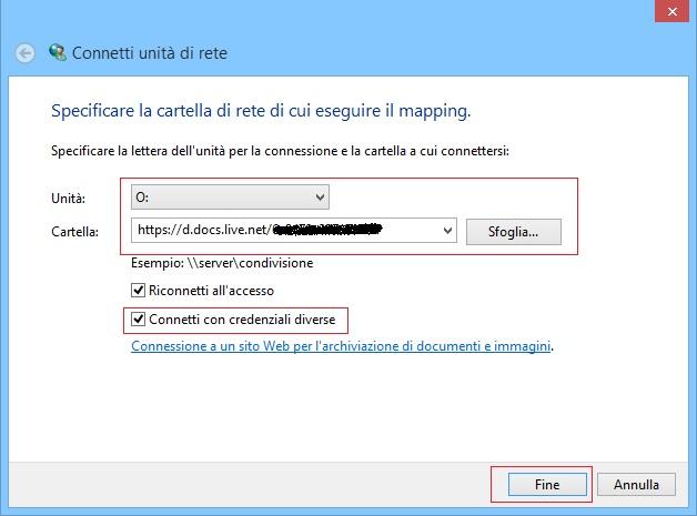Windows - Connetti unità di rete - OneDrive