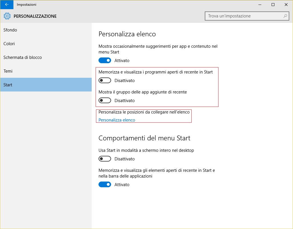 Windows 10 - menu - personalizzazione