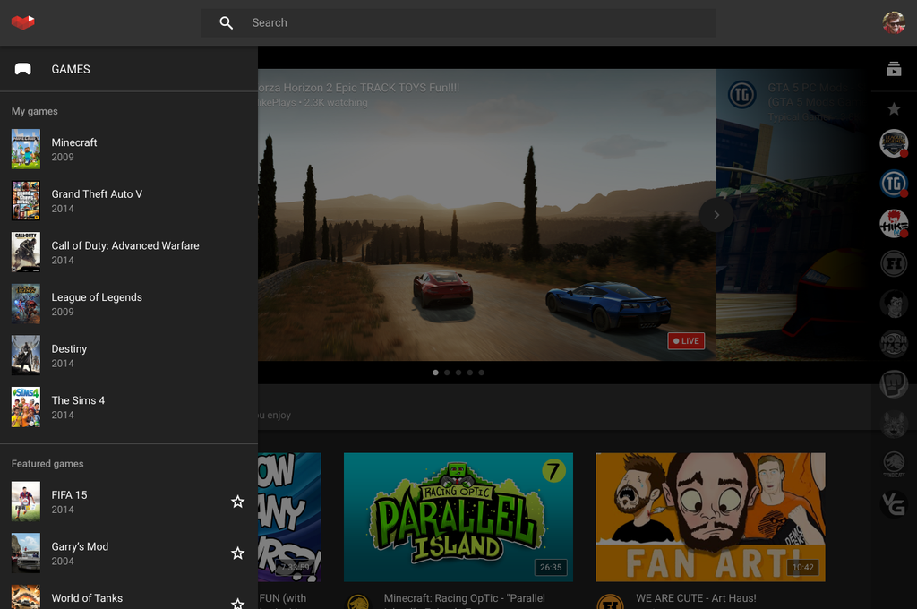 YouTube Gaming - Screen 1
