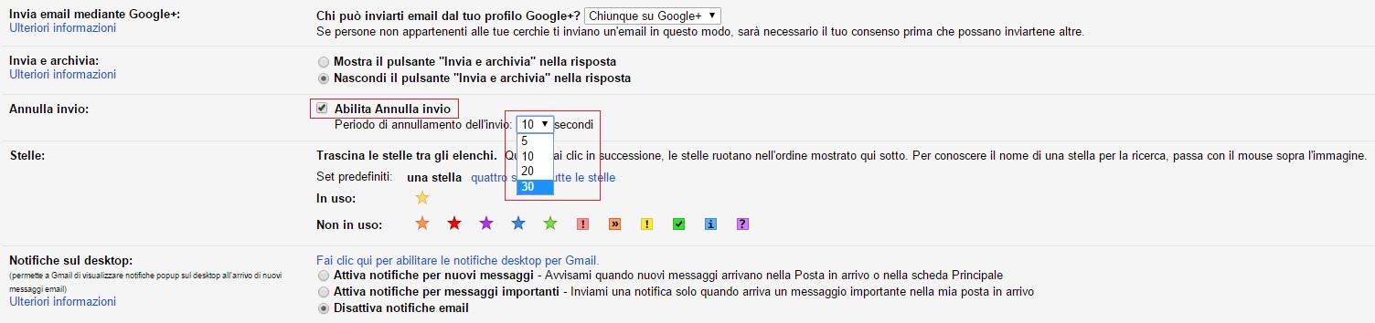 gmail - abilita annulla invio