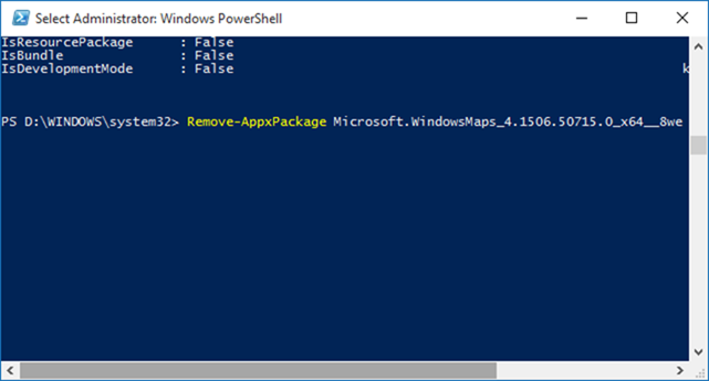 Windows 10 - PowerShell - store app name remove