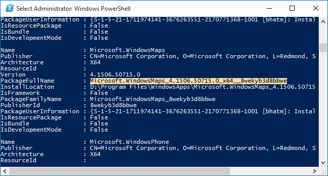 Windows 10 - PowerShell - store app name