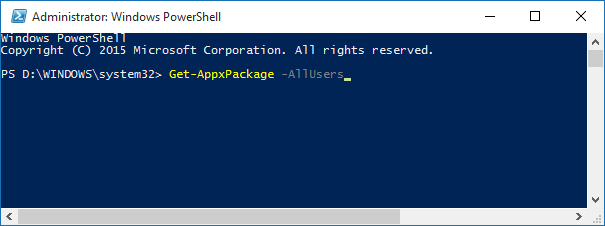 Windows 10 - PowerShell - store app