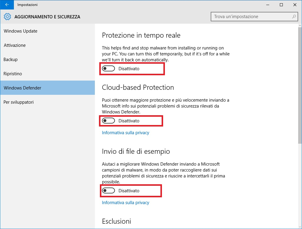 Windows 10 - Windows Defender Impostazioni