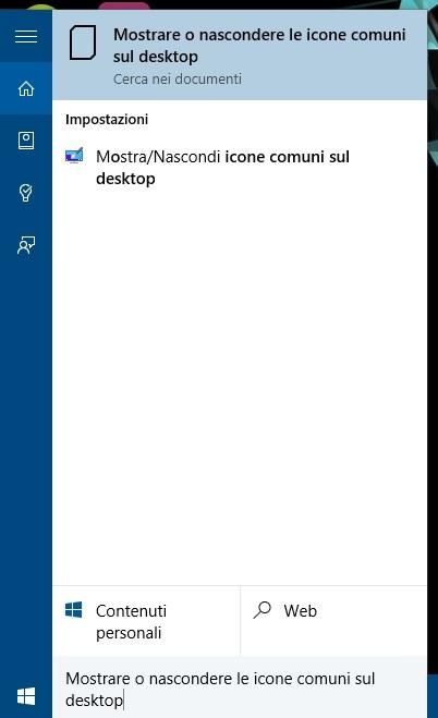 Windows 10 - mostrare o nascondere le icone comuni sul desktop - cerca
