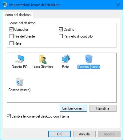 Windows 10 - mostrare o nascondere le icone comuni sul desktop - cestino (pieno) - icona