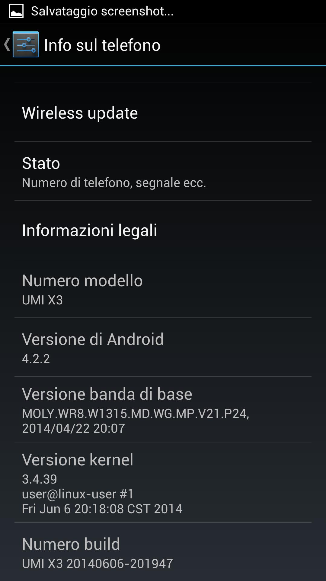 Info sul telefono Android