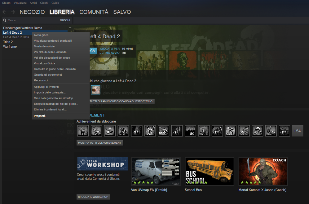 Proprietà Steam