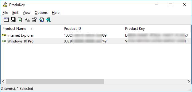 Visualizzare - Product key - Win10 - ProduKey