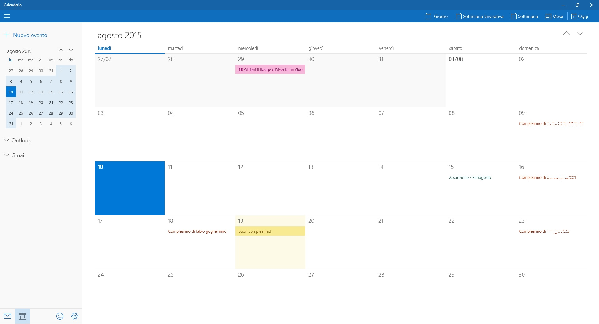 Windows 10 - calendario google