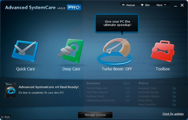IObit Advanced SystemCare Free home