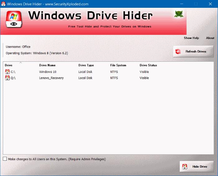 Windows Drive Hider