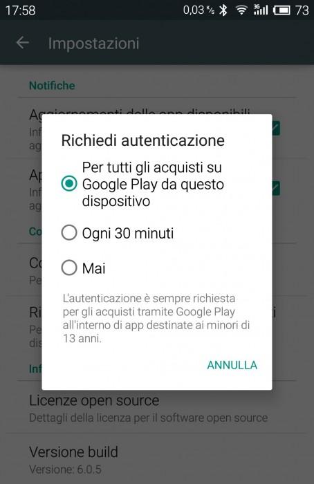 Per tutti gli acquisti su Google Play da questo dispositivo