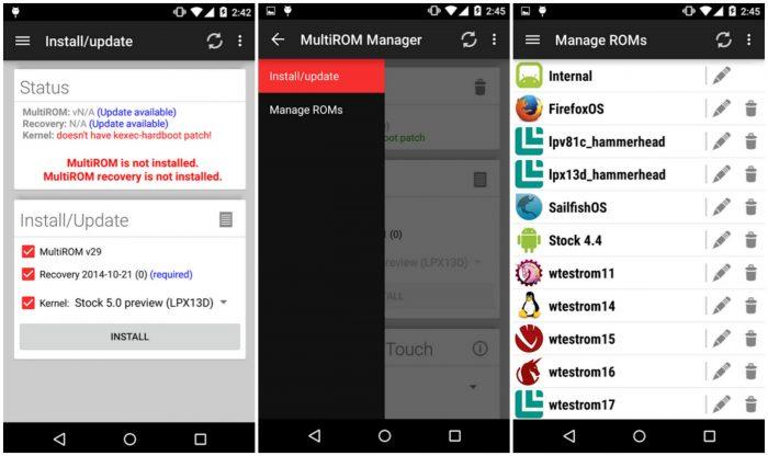 MultiRom Manager - Screen