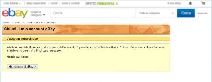 eBay - Account - Chiudi